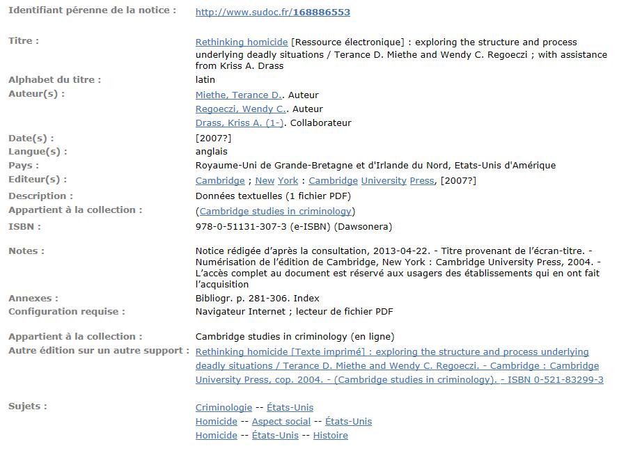 La notice de l'ebook dans le Sudoc