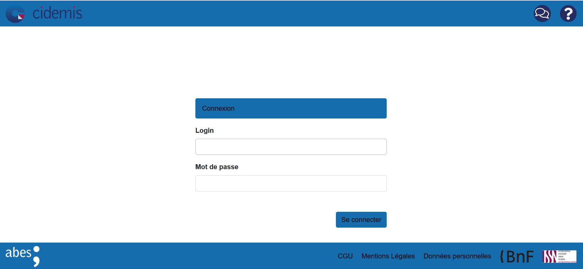 Capture écran de la page d'accueil de Cidemis