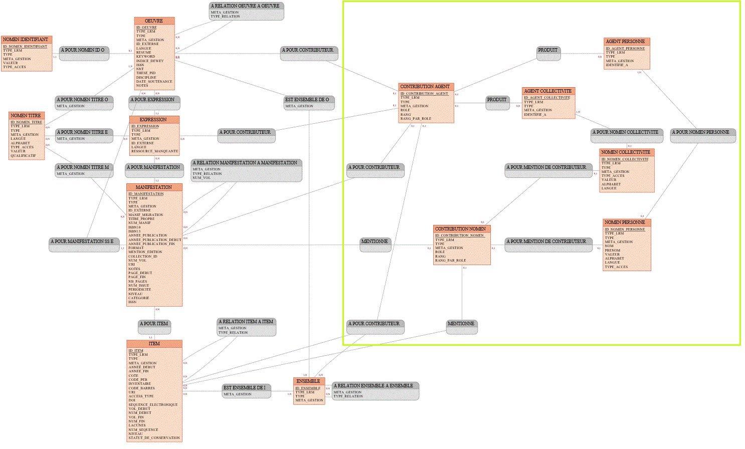 Modèle conceptuel de données global résultant de notre modélisation